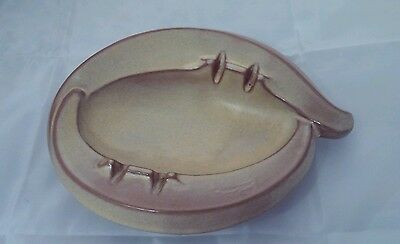 Vintage Frankoma Ashtray #452 Yellow/Mustard With Brown Accents Excellent Cond.