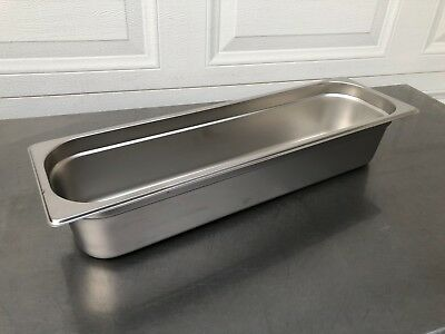 1 New Winco SPJL-4HL  Steam-Table Pan, Stainless Steel 18-8 Half Long Size 4""