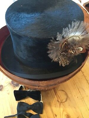 Old Antique Victorian Feather Top Hat & Box Goth Steampunk Original Collectors
