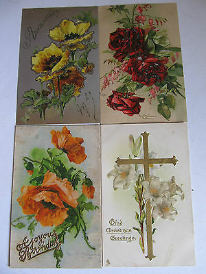 Four Lovely Antique postcards, glitter Flowers, Birthday/Xmas Greetings & TUCK