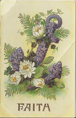 "Lovely Antique postcard ""FAITH"" Anchor, purple/violet flowers - used"