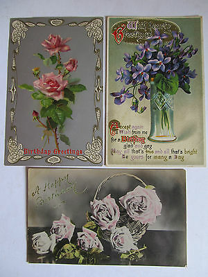 Three Lovely Antique Real Photo postcards, Flowers, used Birthday Greetings