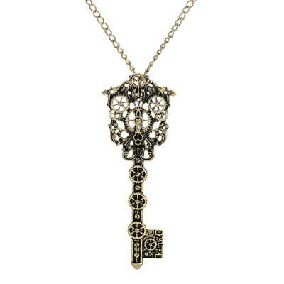 2pcs Steampunk Gear Key Pendant Necklace Vintage Gothic Jewelry For Women
