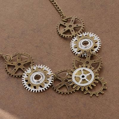 Steampunk Watch Gear Pendant Necklace Chain And Ring Vintage Jewelry Set