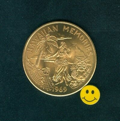 HAWAII Token - Hula Dancer - Seahorse  - Heavy Bright Bronze Doubloon Coin 1969