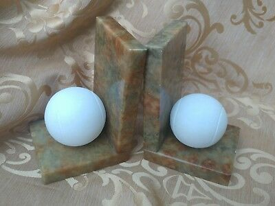 "Pair Vintage White ""hand Carved Italian Alabaster Ball Bookends Marked"