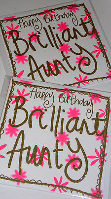 """AUNTY B/DAY CARDS X12,JUST 29p, AMAZING QUALITY,'GLITTERED' WRAP,6"""" SQ,(CL1"""