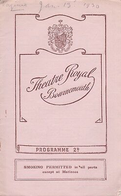 """Bournemouth Theatre Royal - week 13 Jan.1930. """"Virginia"""" a musical comedy."""