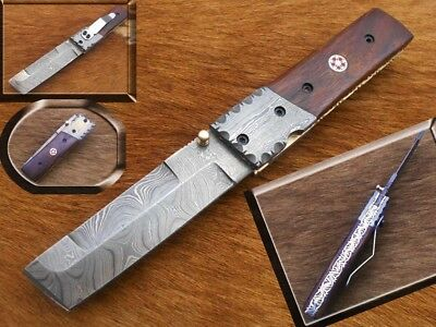 "7"" Damascus steel Pocket knife/ Rose wood with Damascus bolster handle."