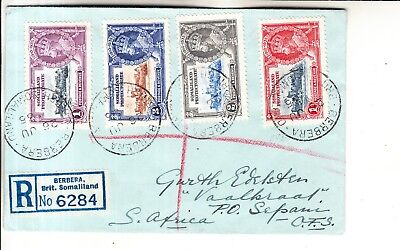 Somaliland Protect. -1935 King George V Silver Jubilee Stamps Registered Cover