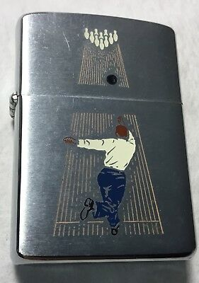 Vintage 1962 Zippo lighter with a Bowler Throwing a Strike Un fired