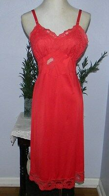 1950-60`s Shadowline Red Nylon Lace Slip Dress Gown Empire Lace Sz 34