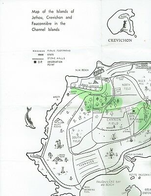Ephemera Jethou , Guernsey , Map of the islands of Jethou Crevichon and Fauconn.