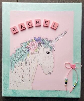 GIRLS UNICORN Personalized Canvas picture.Wood letters ribbon&beads10x12inch.