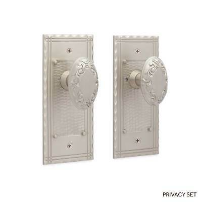 Duclos Hammered Door Plate and Victorian Oval Knob Set Dummy Privacy and Passage