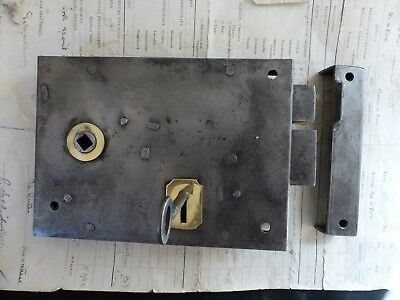 "Antique 7"" x 5"" Cast Iron & Brass Door Rim Lock, Key & Keep - Victorian knob"