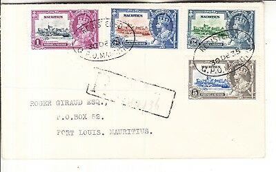 Mauritius -1935 King George V Silver Jubilee Stamps Registered Cover
