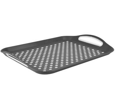 2x Anti Non Slip Plastic Food Tray Rubber Grip Surface Serving Lap Dinner Grey