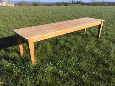 Large Antique Pine Refectory Dining Table