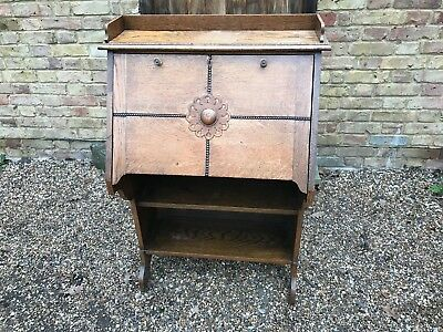 Edwardian era Slim Student Bureau Desk Oak Arts & Crafts - Very Practical size