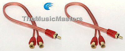 """NAK Premium Metal Head RCA Audio /""""Y/"""" Cable Adapter Splitter 1 Female to 2 Male"""