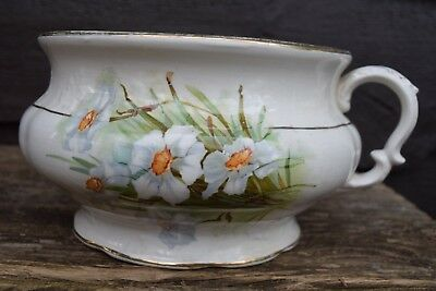 Antique Knowles Taylor Transferware Floral Daffodil Chamber Pot USA 1890-1920
