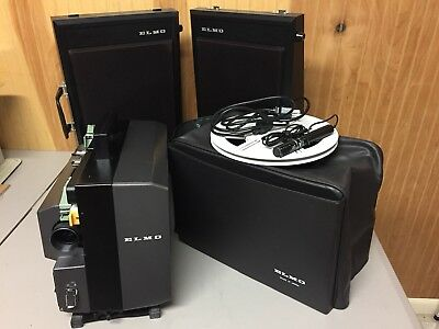 Elmo GS-1200 STEREO SOUND 8mmMovie PROJECTOR + Speakers and Accessories