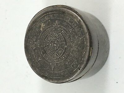 Antique Pill Box Sterling Silver Vintage Round Small Old