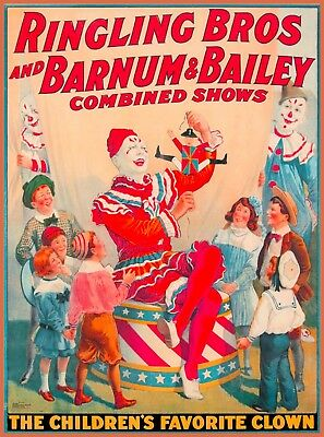 Ringling Brothers Circus The Children's Clown Vintage Travel Art Poster Print