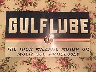 100% Auth & Orig 1940'S Gulf Oil 'GULFLUBE' Sign Original Patina Almost Flawless