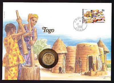 1988 Togo African Market Activities stamp & coin on cover Natives near Buildings