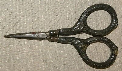 """Antique Ornate Handle Sterling Silver 3 3/4"""" Scissors Made in Germany 14g"""
