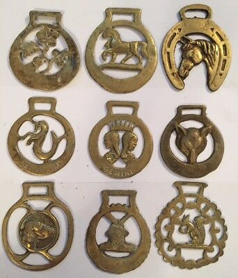 9 Antique Brass English Horse Brasses Saddle British Brass Decoration Lot 4