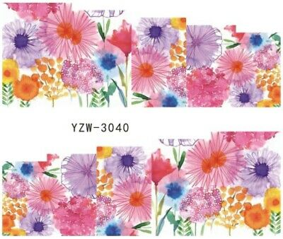 Nail Art Stickers Water Decals Transfers White Mono Design Flowers (B029)