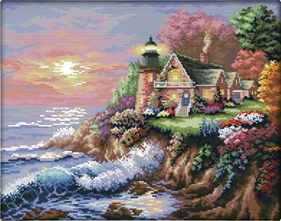 The Seaside Lighthouse (1). landscape 14CT Counted Cross Stitch. Craft Brand New