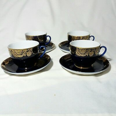 Lomonosov Coffee Cups and Saucers Gold on Cobalt Blue Made in USSR