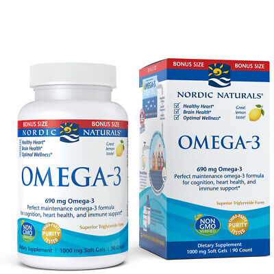 Nordic Naturals Lemon Omega-3 - Aids Cognition, Heart Health, and Immune Support