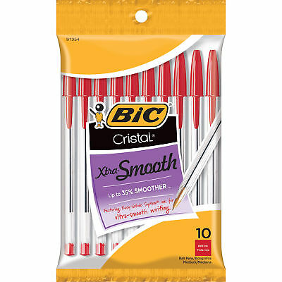 BIC Cristal Xtra Smooth Ball Pen, Medium Point, Red, 10-Pack