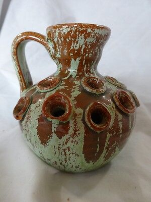 Vtg ARTS & CRAFTS Green Brown DRIP Glazed FROG Hole HANDLED Jug VASE by AR COLE