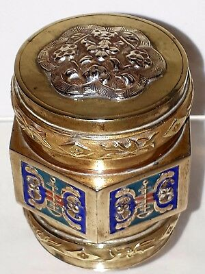 Antique Chinese Cloissone Brass Box, Engraved Silver Mount, Early 20th C Marking