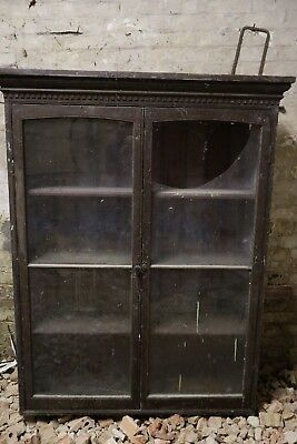 Large untouched Antique pine glazed wall cupboard, cabinet, display kitchen