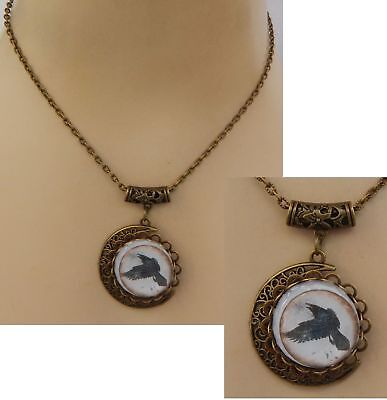 Gold Raven Moon Pendant Necklace Jewelry Handmade NEW Accessories Fashion