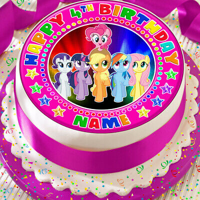 My Little Pony Birthday Personalised Precut Edible 75 Inch Cake Topper