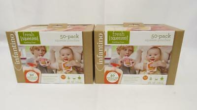 Lot of 2 Infantino Squeeze Pouches 50 Count Fresh Baby Feeding Puree (100 total)