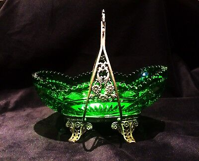Green Depression Glass bowl & Silver Plated Case