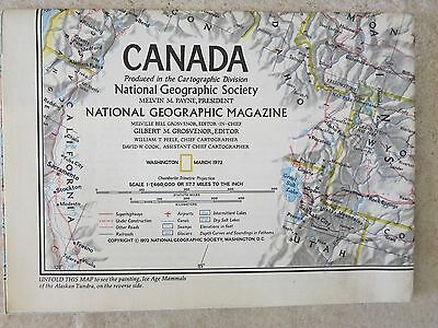 National Geographic Society Map Supplement Canada March 1972