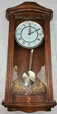 Linden Westminster W/Chime & Pendulum Wall Clock Vintage Home Decor Wooden