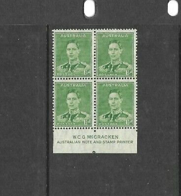 Australia 1941, 1.5d Green KGV1, McCracken imprint block of 4, Mint Hinged