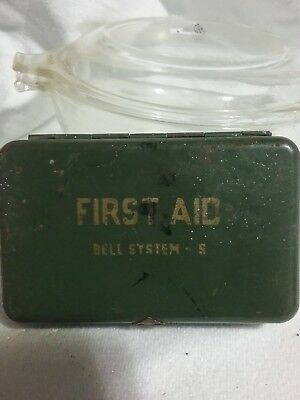 Vintage BELL SYSTEM Metal FIRST AID KIT Box W/ Supplies packed full