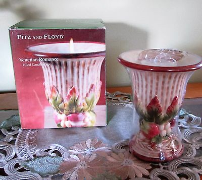 NIB Fitz & Floyd Venetian Romance Filled Candle Cup - Discontinued Pattern